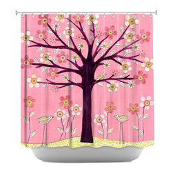 DiaNoche Designs - Shower Curtain Artistic - Pink Bird Tree - DiaNoche Designs works with artists from around the world to bring unique, artistic products to decorate all aspects of your home.  Our designer Shower Curtains will be the talk of every guest to visit your bathroom!  Our Shower Curtains have Sewn reinforced holes for curtain rings, Shower Curtain Rings Not Included.  Dye Sublimation printing adheres the ink to the material for long life and durability. Machine Wash upon arrival for maximum softness on cold and dry low.  Printed in USA.