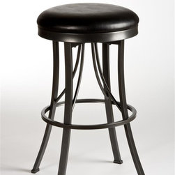 Hillsdale Furniture - Backless Stool (30 in. Bar Height) - Choose Size: 30 in. Bar HeightCommercial grade support features.Metal legs with a pewter finishBlack vinyl seat360 degree swivel. 17 in. W x 17 in. D x 26 in. H (14 lbs.)One of the first of its kind at Hillsdale Furniture, the Ontario Backless Stool combines high design with commercial grade support features. Sharply styled and constructed, the Ontario Stool has presence in any room. The Ontario's metal legs are finished in pewter while its 360 degree swivel stool is covered in glossy black vinyl Some assembly required