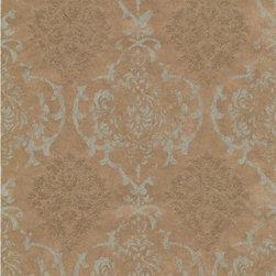 Wallpaper Worldwide - Royal Embroidery - Damask Wallpaper, Gold, Grey - Material: Non-woven.