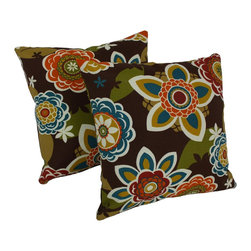 Blazing Needles - Blazing Needles 20-inch Patterned Outdoor Throw Pillows (Set of 2) - Give your outdoor decor a colorful upgrade with these eye-catching throw pillows by Blazing Needles. Upholstered with UV and weather-resistant fabric,these gorgeous pillows feature a square shape and knife edges.