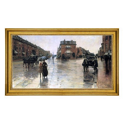 """Frederick Childe Hassam-14""""x28"""" Framed Canvas - 14"""" x 28"""" Frederick Childe Hassam Rainy Day, Boston framed premium canvas print reproduced to meet museum quality standards. Our museum quality canvas prints are produced using high-precision print technology for a more accurate reproduction printed on high quality canvas with fade-resistant, archival inks. Our progressive business model allows us to offer works of art to you at the best wholesale pricing, significantly less than art gallery prices, affordable to all. This artwork is hand stretched onto wooden stretcher bars, then mounted into our 3"""" wide gold finish frame with black panel by one of our expert framers. Our framed canvas print comes with hardware, ready to hang on your wall.  We present a comprehensive collection of exceptional canvas art reproductions by Frederick Childe Hassam."""