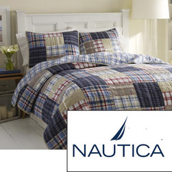 Nautica - Nautica Chatham Cotton Reversible Quilt (Shams sold Separately) - With an eye-catching patchwork pattern, these quilt and sham separates feature a solid cotton construction to give you a soft blanket to cover up with. The reversible quilt is available in various color options to complement your bedroom decor.