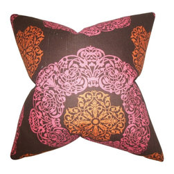 "The Pillow Collection - Ilona Geometric Pillow, Pink Brown 18"" x 18"" - Give a quick makeover to your home with this contemporary pillow."