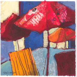 Red Umbrellas (Original) by Shelli Walters - The sight of a red umbrella takes my mind on a vacation. I love the joyful, punchy color and the idea of enjoying a good book beneath one of them in some beautiful location far from home. I used elements of collage to create texture and interest in key areas and enjoyed the blocking of color to create an interesting composition.