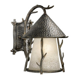 Vaxcel Lighting - Vaxcel Lighting Berkeley Woodland Traditional Outdoor Wall Sconce X-AA011DWO-DW - This Vaxcel Lighting Berkeley Woodland Traditional Outdoor Wall Sconce is a charming light fixture. It features a theme of tree branches and a hammered hood and back plate in a autumn patina finish with a French scavo glass diffuser. It's a wonderful, hand-forged piece that will surely add a touch of style to your decor.