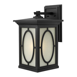 Hinkley Lighting - 1495BK Randolph Outdoor Wall Light, Black, Clear Panels and Etched Panels Glass - Traditional Outdoor Wall Light in Black with Clear Seedy Panels and Etched Seedy Panels glass from the Randolph Collection by Hinkley Lighting.