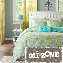 Mi-Zone - Mizone Paige 3-piece Duvet Cover Set - The Mizone Paige duvet cover set is the perfect way to add color and style to your bedroom. This duvet cover set brings in a great combination of turquoise blue with an apple green color to create a fun damask pattern.