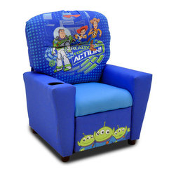 "KidzWorld - Disney Toy Story 3 Children's Recliner - Features: -Sturdy mixed hardwood frame.-Steel reclining mechanism.-Polyester fiber fill and polyurethane foam padding meet all CAL foam and CPSIA standards, and are lead test and CARB compliant.-Inner back and footrest surface feature images from Disney's Toy Story 3.-Generously padded armrests - no sharp edges.-Recessed plastic cup holder in the top of the right-hand armrest.-Disney collection.-Product Type: Chair.-Collection: Disney.-Hardware Finish: Steel.-Distressed: No.-Powder Coated Finish: No.-Gloss Finish: No.-Frame Material: Mixed hardwood.-Hardware Material: Steel.-Solid Wood Construction: Yes.-Number of Items Included: 1.-Non-Toxic: No.-UV Resistant: No.-Fire Resistant: No.-Stain Resistant: No.-Mildew Resistant: No.-Insect Resistant: No.-Arms Included: Yes.-Upholstered Seat: Yes -Seat Upholstery Material: Polyester fibers & densified fibers.-Seat Upholstery Color: Blue.-Removable Seat Cushions: No.-Seat Cushion Fill Material: Polyester fibers & densified fibers.-Removable Seat Cushion Cover: No.-Tufted Seat Upholstery: No.-Welt on Seat Cushions: No..-Upholstered Back: Yes -Back Upholstery Material: Polyester / Cotton.-Back Upholstery Color: Blue.-Removable Back Cushions: No.-Back Cushion Fill Material: Polyester fibers & densified fibers.-Removable Back Cushion Cover: No.-Tufted Back Upholstery: No.-Welt on Back Cushions: No..-Nailhead Trim: No.-Rocker: No.-Swivel: No.-Glider: No.-Reclining: Yes.-Footrest Included: Yes.-Stackable: No.-Foldable: No.-Inflatable: No.-Legs Included: Yes -Number of Legs: 4.-Leg Material: Plastic.-Protective Floor Glides: No..-Casters: No.-Cupholder: Yes.-Skirted: No.-Ottoman Included: No.-Adjustable Height: No.-Ergonomic Design: No.-Age Recommendation: 3 to 7 yrs..-Outdoor Use: No.-Seating Capacity: 1.-Weight Capacity: 75 lbs.-Swatch Available: No.-Commercial Use: No.-Recycled Content: No.-Eco-Friendly: Yes.-Product Care: May be wiped clean with damp cloth and mild soap, air dry.-Country of Manufacture: United States.-Convertible: No.Specifications: -FSC Certified: No.-CPSIA or CPSC Compliant: Yes.-CARB Compliant: Yes.-Green Guard Certified: No.Dimensions: -Overall Height - Top to Bottom: 28"".-Overall Width - Side to Side: 24.5"".-Overall Depth - Front to Back: 23"".-Seat Height: 13.5"".-Seat Width - Side to Side: 14"".-Seat Depth - Front to Back: 14"".-Legs: -Leg Height: 2"".-Leg Width: 1.5"".-Leg Depth: 1.5""..-Arms: -Arm Height: 15"".-Arm Width: 5""..-Depth When Fully Reclined: 27"".-Overall Product Weight: 32 lbs.Assembly: -Assembly Required: No.-Additional Parts Required: No.Warranty: -Product Warranty: 30 days."