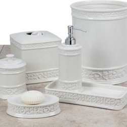 "Creative Bath Products - Cosmopolitan Bath Soap Dish - The lovely vintage design on the Cosmopolitan Bath Ensemble transforms your bathroom into a grand space. Soap Dish measures 6 ½"" L x 4 ½ W x 2 ¼"" H. Constructed of durable white ceramic with scrollwork. Pieces sold separately."