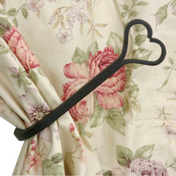 Renovators Supply - Tie Backs Black Wrought Iron Curtain Tie Back 8 1/2 L - Curtain Hold Backs. These heart tiebacks measure 8 1/2 in. long and project 3 7/8 in.
