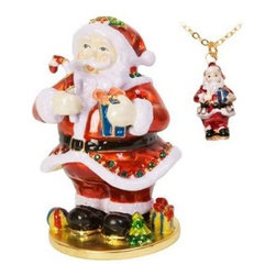 Santa Trinket Box - Bring Santa home for the holidays, or all year round, with the Santa Trinket Box. Brightly decorated, this Santa is holding a wrapped present and is enjoying a candy cane. Wearing his traditional suit, this Santa is a great addition to your holiday décor, or makes a wonderful Christmas gift.As an added bonus, you'll love the included matching necklace!