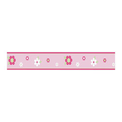 """Sweet Jojo Designs - Pink and Green Flowers Wall Paper Border (15' x 6"""") - Add a pop of color to your child's wall with this fun floral design. This pleasing daisy and pink blossom prepasted wallpaper border is washable and easily removable, so it's a low stress way to upgrade your child's room!"""
