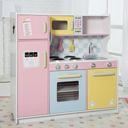 KidKraft Deluxe Pastel Play Kitchen - The KidKraft Deluxe Pastel Play Kitchen lets your kids have fun while they become acquainted with a typical kitchen. Children love to imitate their parents and this kitchen playset lets them do that safely. Parents and kids both will appreciate the elaborate details of this cute play kitchen. A pretend water and ice dispenser on the fridge a grocery list movable clock and microwave are some favorite details. The opening doors also provide realistic fun and the oven range with knobs and handles gives this play set life-like authenticity. A cloth hot pad plastic spatula and plastic mixing spoon are included to help your little chef cook up some fun. Let your child's imagination run wild with the KidKraft Deluxe Pastel Play Kitchen. Order yours today! About KidKraftKidKraft is a leading creator manufacturer and distributor of children's furniture toy gift and room accessory items. KidKraft's headquarters in Dallas Texas serve as the nerve center for the company's design operations and distribution networks. With the company mission emphasizing quality design dependability and competitive pricing KidKraft has consistently experienced double-digit growth. It's a name parents can trust for high-quality safe innovative children's toys and furniture.
