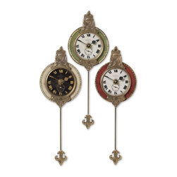 Mini Red Cream Green Pendulum Wall Clocks Set of 3 - *Weathered laminated clock face with cast brass details and pendulum.