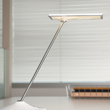 Humanscale - 9. Humanscale Horizon LED Task Light - Humanscale's Horizon LED task light is the first utilization of Thin Film Technology™ in a task light. Using a series of high-intensity LEDs surrounding several layers of polycarbonate and optical films, Thin Film Technology produces an ultra-wide footprint of warm, glare-free 3000K light.