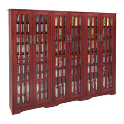 Leslie Dame - Leslie Dame CD/DVD Wall Rack Media Storage Unit in Dark Cherry - Leslie Dame - CD & DVD Media Storage - M1431DC - The Cherry Media Storage Unit has plenty of room and style to meet all of your requirements when displaying and storing your media collection. Reminiscent of the Arts and Crafts movement, this media storage cabinet features classic design elements including an overhang top, bracket feet and slat door fronts that create a distinctive window pane look.