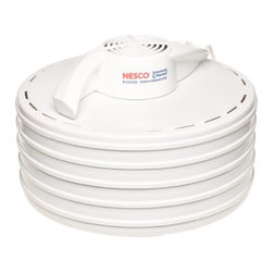 """Metal Ware Corp. - 5-Tray Fd-35 425-Watt Snackmaster Dehydrator - Features Nesco/American Harvest's innovative top mounted powerhead that dries food quickly and evenly with superior results. Keeps drippings out. Detaches to make dehydrator dishwasher safe for easy clean up. Fan-flow technology means faster, more even drying with no tray rotation necessary. 4"""" fan, 400 watts. Four tray Snackmaster Entree. Expands up to 7 trays with Add-A-Tray accessories, (sold separately). Made in the USA."""