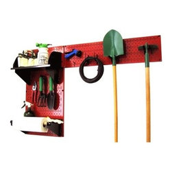 Wall Control Pegboard Garden Tool Board Organizer Kit - Red - Improperly kept tools only makes yardwork harder and lessens their usefulness. The Wall Control Pegboard Garden Tool Board Organizer Kit - Red provides you with a customizable space that lets your organize and store anything from chemicals to full-size tools and more. Two pegboard panels are included, each made from sturdy 20-gauge steel with a scratch-resistant powder-coated red finish. An assortment of hooks are included to get you started, along with 2 U hooks, and 2 handle hangers. Both a 9-inch shelf (with dividers) and a 4-inch shelf (with a dowel assembly) are also included. The accessories are available in your choice of black, red, blue, or white. Tools are not included.About Wall Control For over a decade, Wall Control have provided home handymen and do-it-yourselfers with simple, easy-to-install wall storage available in a variety of colors and styles to suit any room in your home. Domestically based in Tucker, Georgia, Wall Control ensures quality American craftsmanship that's guaranteed to last a lifetime and looks great while doing so. Its patented designs are here to make your life easier, made from sturdy materials that let you customize any room in your home the way you see fit.