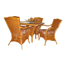 Spice Island Wicker - 5 Pc Dinette Set with Glass & Cushions (Solar Kiwi - All Weather) - Fabric: Solar Kiwi (All Weather)Elegant with an island inspired appeal, this five piece dinette set will bring the spirit of Hemingway's tropical hideaway to any home's decor. Set features a round wicker table with a glass top and four woven wicker chairs with cushion seats. 4 Dining Arm Chairs w Cushions. Table w Glass Top: 30 in.
