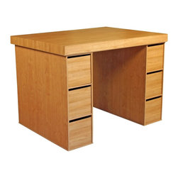 Venture Horizon - Oak Finish Project Center Desk w Bin Storage Ends - A pair of storage bin ends give this project center all the organization you require. Plus, it has 6 total drawers to keep essential items safely tucked from view. It has a spacious tabletop to handle any task. A beautiful oak finish completes this affordable, functional table. Includes tabletop and two 3 bin cabinets. Deep drawers not included. Organizes all projects. Versatile work center. Accessible storage. Huge work surface. Shelves are adjustable. 3 Large storage bins. Constructed from durable, stain resistant and laminated wood composites that includes MDF. Made in the USA. Assembly required. Overall: 55 in. W x 40.75 in D x 38.5 in H. Table top: 55 in W x 41 in. D x 2.5 in H. Storage bays: 11.25 in. W x 13.13 in. D x 39 in. L. Drawer: 10 in. W x 17.25 in. D x 10 in. HOur Work Station's ingenious design makes it perfect for studying, sewing, crafting or scrap booking.  If you have a hobby like model airplane building or collecting coins then our spacious PROJECTCENTER is ideal.  From concept thru design & production, organize your creations...then relax. Our PROJECTCENTER will do the rest. It combines numerous convenient ways to organize and store all the materials for any project.  Whether it's keeping your work in process close at hand on the spacious 55 in. x 41 in. table top. Or arranging the contents of your materials in tidy oversized adjustable bookcase shelves. Longer or larger objects like wrapping paper, bolts of fabric or even architectural plans store conveniently in any of the large storage bins. They are open at both ends. Need more? Then add 3 or more deep drawers to the mix. Use them to hide the clutter of yarn, buttons, thread or what ever you need concealed. Without doubt this is the most intelligent PROJECTCENTER we have ever developed.Our PROJECTCENTER is comprised of 3 main components: Table Top, 9 Shelf Bookcase and 3 Bin Storage Cabinet. All may be ordered separately or as a group. The optional drawers are packaged 3 to a set and fit nicely into the storage bays.Best of all the PROJECTCENTER is counter top height. That's right. It is 38.5 in. high so you won't have to break your back gift wrapping, quilting, drawing or doing leather work. What ever the project, this center is for you.