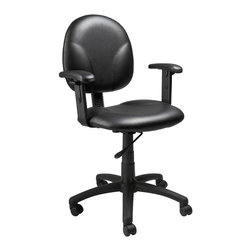 BOSS Chair - Task Chair In Black Vinyl w Contoured Back, A - Improved efficiency comes packaged in the form of Diamond task chair upholstered in black, Caresoft vinyl. Its ultra-soft upholstery, extra-wide seat and contoured back rest help you with finding the perfect posture to work in. Arm rests that can be adjusted further enhance comfort, perhaps resulting in shorter, productive, more enjoyable hours. Contoured back and seat provides support and helps relieve back strain. Extra large seat and back cushions. Pneumatic gas lift seat height adjustment. Adjustable arms. Upholstered in Black Caressoft vinyl. Cushion color: Black. Base/wood: Black. Seat size: 19.5 in. W x 18 in. D. Seat height: 17 in. -22 in. H. Arm height: 24 in. -32 in. H. Overall dimension: 25 in. W x 25 in. D x 32-40 in. H. Weight capacity: 250 lbs