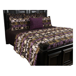 Violet King Coverlet Set - Purple, Black and Green geometric pattern gives this set a fun fresh feel.