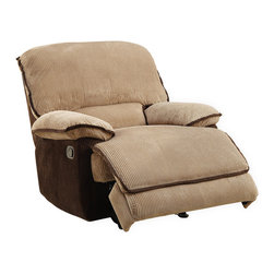 Homelegance - Homelegance Grantham Glider Reclining Chair in Chocolate and Brown - Ease into your favorite chair and with the pull of a lever let it ease you into a reclining position. The Grantham collection provides the platform to elevate your comfort when you are ready to relax. The reclining mechanism allows for full seat extension. Further enhancing your experience is the wide seating and ultra soft neutral brown wide wale corduroy that features contrasting chocolate trim.