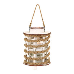 Benzara - Classic Wooden Glass Rope Extension Lantern with Rustic Finish - These little wooden and rope lanterns will add a rustic look to your home decor with their charming design. Your home will be revamped with a classy and sophisticated appeal once decorated subtly with an experimental use of these lanterns. The fascinating rustic appearance is a result of play in its color combination that works perfectly in this white painted wood and tanned rope lantern. The chic design and style of this home accessory works its wonders as they are handy for practical use. To get the best out of it, you can hang it above the dining table to enjoy a romantic dinner with your loved ones. It can be used as desired to create a pleasing and intimate ambience by someone, or it can be passed on to a friend or a close acquaintance as a gift. It comes with a dimension of 12 in.  H x 8 in.  W x 8 in.  D.