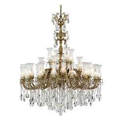 Trans Globe Lighting - Trans Globe Lighting JA-32 BGO Victorian Etched Glass Traditional Chandelier - Etched glass hurricane shades. Includes 8' chain for hanging adjustments. Matching round ceiling plate. Made of heavy cast metal. Crystal beads.