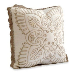 Nostalgia Home - Nostalgia Home Nicola Square Toss Pillow in Ivory - Enhance the look of any sofa, chair or bed in your home with this classic Nicola square pillow. An attractive crochet trim, taupe chain embroidery and decorative fringe give the pillow a classic, timeless look.