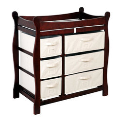Badger Basket - Sleigh Style Baby Changing Table with 6 Baskets - Features: -Sleigh style changing table with six baskets.-Material: wood, hardboard, polyester / cotton fabric.-Lots of storage.-Easy pull-out drawers / baskets.-Baskets/drawers.-Card holders for identifying what is in each drawer.-Large / small baskets can be on the left or right.-Safety rails surround the changing area.-Metal support bar for additional stability.-Wipe clean with a damp cloth as needed.-Pad and safety belt included.-Wood table has a non-toxic finish and hardboard top shelf.-Distressed: No.Dimensions: -Overall Product Weight: 40 lbs.