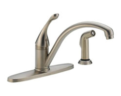 Delta - Delta 440-SSWE-DST Collins 1-Handle Water-Efficient Faucet, Spray (Stainless) - The Delta 440-SS-DST is a Collins style single-lever-handled kitchen faucet with side sprayer that comes in a beautiful, stainless steel finish, making it a classic addition to any 4-hole mount kitchen sink. The convenient side sprayer makes quick, easy work of cleaning larger sinks and awkwardly sized dishes. This faucet comes with a lifetime faucet and finish limited warranty to the original consumer purchaser to be free from defects in material and workmanship, and a 5-year limited warranty for usage in all industrial, commercial, and business applications.