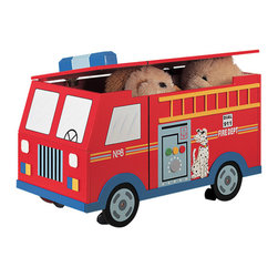 "Teamson Fire Engine Truck Trunk - Featuring wheels which are easy to maneuver, that won't scratch your floors, and vividly hand painted and hand crafted features, this play truck makes it every child's favorite. Dimensions: 32.88"" x 17.75"" x 20"""