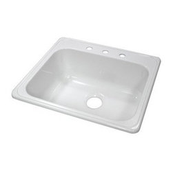 "Lyons Industries - Kitchen Sink, 25""L x 22""W Single Bowl Acrylic 9"" Deep, Three Faucet Holes, White - Lyons Industries Single Bowl white acrylic kitchen sink 9"" deep with three faucet holes. This standard self rimming 25"" x 22"" sink is easy to install as a remodel or new construction project. This sturdy sink has durable easy to clean high gloss acrylic construction with a fiberglass reinforced insulation backer. This sink is quiet and provides a superior heat retention than other sink materials meaning your dish water stays warm longer. Lyons sinks come with a simple mounting tab and clip system to firmly fasten the sink to the countertop and reinforced drain areas for safely supporting a garbage disposal. Detailed installation instructions include the cut-out specifications. Lyons sinks are proudly Made in America by experienced artisans supporting our economy."