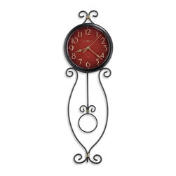 Howard Miller - Howard Miller Addison Quartz Wall Clock - Howard Miller - Wall Clocks - 625392 - This contemporary wall clock is a unique accent and a means of fostering a certain charm in your living space. Distinguished by its decorative wrought-iron scroll work, cast crown and antique red dial, the Addison has a particular charm to it. An open circle pendulum and aged spade hands join the reliable timekeeping of quartz movement to complete the look and appeal of the Addison Quartz Wall Clock.