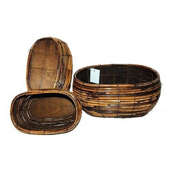 """Master Garden Products - Rattan Oblong Planter, 8"""" - Rattan oblong planters can be rearranged to form a potting group, creating a decorative display.  The natural look of rattan creates a rustic look for your home and garden."""