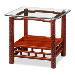 "China Furniture and Arts - Rosewood Ming Style Lamp Table - Exquisite in its simplicity, this lamp table will complement virtually any contemporary setting. Round legs are intricately carved with decorative leaf motif. Made of solid rosewood using traditional joinery technique by artisans in China. Hand applied natural rosewood finish enhance the beauty of the wood grains Topped with a 1/4"" beveled glass. Fully assembled."