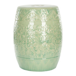 Safavieh - Lotus Garden Stool - Swirling light green lotus flowers and vines are embossed on the lustrous Lotus Garden stool, a versatile piece that serves as sculptural decorative accent, table, foot rest and even a plant stand. Crafted of high fired ceramic, this classic oriental garden stool is crowned with the traditional cutout prosperity coin symbol.
