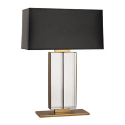 Robert Abbey - Robert Abbey Sloan Table Lamp 1957B - Rectangular Black Painted Opaque Parchment Shade with Matte Gold Lining