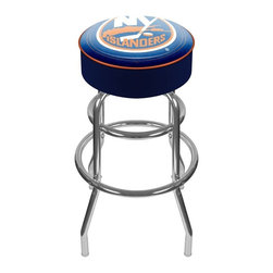 Trademark Global - Bar Stool w Padded Seat & NHL New York Island - The officially licensed logo and colors of the New York Islanders hockey team is featured on the padded vinyl seat of this colorful bar stool, making it a great gift idea for any sports fan. The stool would be perfect as a part of any bar or game room decor, and has a chrome colored steel base. Other team logos are available separately. Adjustable levelers. Long lasting officially licensed NHL team logo. Great for gifts and recreation decor. 7.50 in. High padded seat. 30 in. High bar stool great for bar pub table and bars. Commercial grade vinyl seat. Chrome plated double rung base. 14.75 in. W x 14.75 in. D x 30 in. H (17 lbs.)This National Hockey League Bar Stool will be the highlight of your bar and game room.