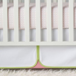 Serena & Lily - Lola Crib Skirt - In white brushed canvas, this has a punch pink reveal with contrasting pear green trim for a color mix that's sweet and timeless.