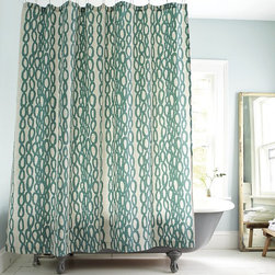 River Rock Shower Curtain - This is a unique pattern on a shower curtain, and I like it. It's very organic with the river rock design. A spa-like environment would be best for this curtain, as the soft blue-green color is very serene.