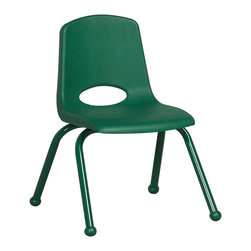 "Ecr4kids - Ecr4Kids 14"" Stackable School Chair - Matching Legs Green Pack Of 6 - Innovative school stack chair features molded seat with vented back has reinforced ribbing in back and under seat for strength. Frame features 16-gauge tubular steel legs and steel lower back support with color-coordinated finish. Full MIG welded frame. No penetration through the seat surface. SuperGlide composite ball glides for durability and protection on hard floors and carpet. Easy to clean and sanitize."