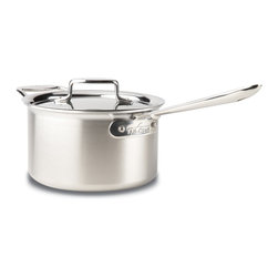All-Clad - All-Clad d5 Brushed Stainless Steel 4 qt. Sauce Pan w/Lid & Loop (BD55204) - This large All-Clad d5 Brushed Stainless 4 quart sauce pan is great for making dishes like chowder, soup, and risotto as well as sauces and gravies. It also has a beautiful brushed stainless finish on the exterior that you'll love. The cooking surface of this All-Clad d4 sauce pan will never react with foods and change their flavors because it's made from 18/10 stainless steel. Another great thing about this pan is it's made in the USA! All-Clad d4 brushed stainless cookware comes with a lifetime warranty with normal use and proper care.