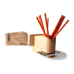 The Utility Collective - Wood Whale - The Wood Whale holds all of your desktop belongings so they don't stray. Pens in the spout, phone in the mouth, letters in the tail.  Service with a smile...