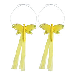"Bugs-n-Blooms - Dragonfly Tie Backs Yellow Jewel Nylon Dragonflies Tieback Pair Set Decorations - Window Curtains Holder Holders Tie Backs to Decorate for a Baby Nursery Bedroom, Girls Room Wall Decor - 5""W x 4""H Jewel Curtain Tieback Set Dragonfly 2pc Pair - Beautiful window curtains tie backs for kids room decor, baby decoration, childrens decorations. Ideal for Baby Nursery Kids Bedroom Girls Room.  This gorgeous dragonfly tieback set is embellished with sequins and glitter.  This pretty dragonfly decoration is made with a soft bendable wire frame & have color match trails of organza ribbons.  Has 2 adjustable wires to wrap around the curtains; or simply remove & add your own ribbon for a personal & custom look.  Visit our store for more great items. Additional styles are available in various colors, please see store for details. Please visit our store on 'How To Hang' for tips and suggestions. Please note: Sizes are approximate and are handmade and variances may occur. Price is for one pair (2 piece)"