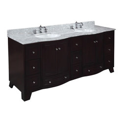 Kitchen Bath Collection - Palazzo 72-in Bath Vanity (Carrara/Espresso) - This bathroom vanity set by Kitchen Bath Collection includes an espresso cabinet with soft close drawers and self-closing door hinges, Italian Carrara marble countertop with stunning beveled edges, double undermount ceramic sinks, pop-up drains, and P-traps. Order now and we will include the pictured three-hole faucets and a matching backsplash as a free gift! All vanities come fully assembled by the manufacturer, with countertop & sink pre-installed.
