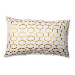 Pillow Perfect - Delightful Sunset Yellow Rectangular Throw Pillow - - There is no piece of furniture a geometric-printed pillow can?t update in an instant. And this geometric gem featuring a golden yellow pattern, will do just that. Featuring a stylish hexagonal print, this throw pillow will compliment modern decor in a snap. Or will boast an interesting contrast when paired with traditional furnishings  - Cover Material: 60 percent Polyester and 40 percent Cotton  - Fill Material: Plush Filling - 100 percent Polyester Fiber  - Measures: 18.5-Inches H X 11.5-Inches W X 5-Inches D  - Knife Edge and Sewn Seam Closure  - Spot Clean Only  - Made in the USA Pillow Perfect - 556413
