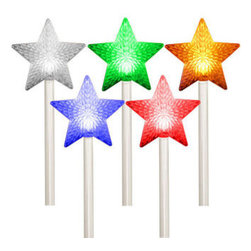 5 Star Path Markers - Color Changing LED Lights - Decorate your home or yard with LED star pathmarkers that change colors as they fade, chase, or twinkle. For the ultimate 'Symphony of Lights,' these pathway markers feature a built-in controller that automatically cycles randomly through the light show functions. This unique decoration offers a safe, lit-up walking path for holiday guests and is sure to surprise passing neighbors. Requires (3) 'C' cell batteries (not included).