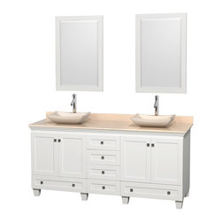 "Wyndham Collection - 72"" Acclaim White Double Vanity w/ Ivory Marble Top & Avalon Ivory Marble Sink - Sublimely linking traditional and modern design aesthetics, and part of the exclusive Wyndham Collection Designer Series by Christopher Grubb, the Acclaim Vanity is at home in almost every bathroom decor. This solid oak vanity blends the simple lines of traditional design with modern elements like beautiful overmount sinks and brushed chrome hardware, resulting in a timeless piece of bathroom furniture. The Acclaim comes with a White Carrera or Ivory marble counter, a choice of sinks, and matching mirrors. Featuring soft close door hinges and drawer glides, you'll never hear a noisy door again! Meticulously finished with brushed chrome hardware, the attention to detail on this beautiful vanity is second to none and is sure to be envy of your friends and neighbors"